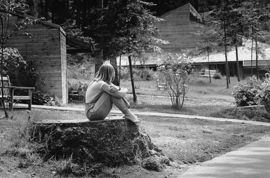 1979:A common sighting around campus to this day: students sitting/studying/meditating on tree stumps