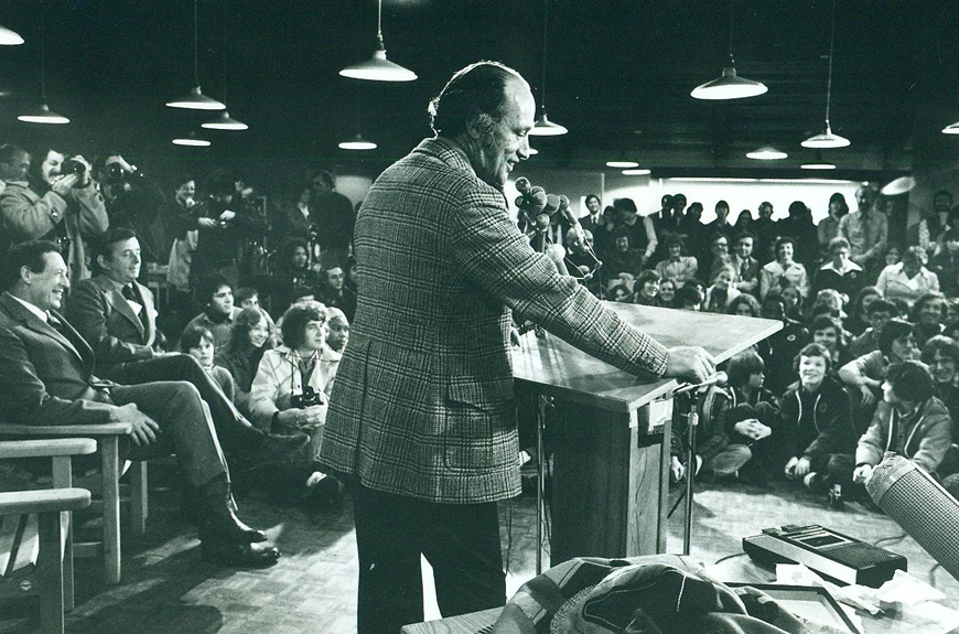 1976:Trudeau address the Pearson College community at a Village Meeting