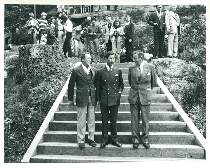 1979:Head of School Jack Matthews (left) with Prince Charles (centre), who became President of United World Colleges following the assassination of his uncle, Lord Mountbatten and with The Hon. John Nichol (right), Chairman of the Board of Trustees  Photograph by Ian McKain
