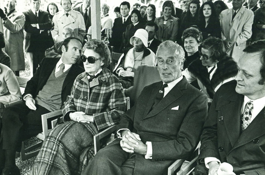 1975: The official opening ceremony of Pearson College UWC drew many honoured guests including, Maryon Pearson (l), widow of the late Lester B. Pearson, Lord Mountbatten, first president of the United World Colleges and the Hon. Jean Chretien, federal Cabinet minister.