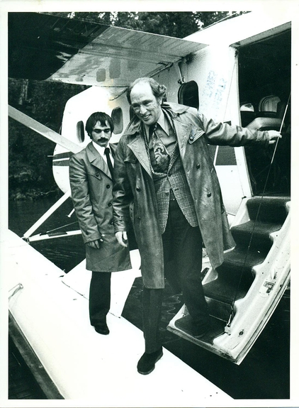 1976:Prime Minister Pierre Elliot Trudeau arrives at Pearson College by floatplane
