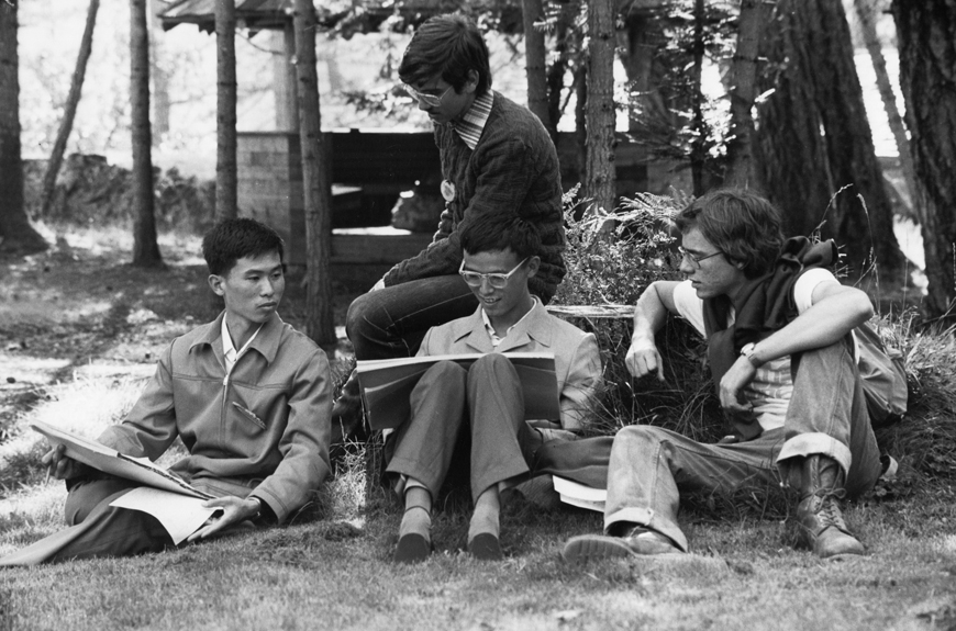 circa 1980s:Students studying